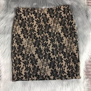 XXI (Forever 21) Tan Lace Skirt